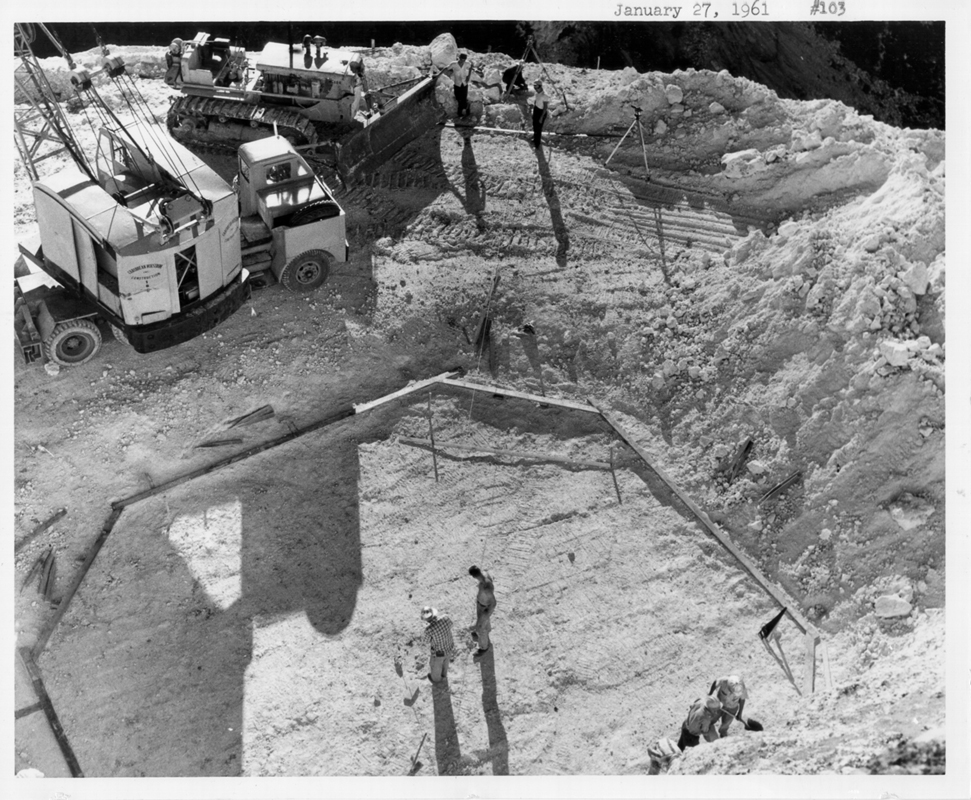 Jan 27, 1961 Beginning of construction for the support cables